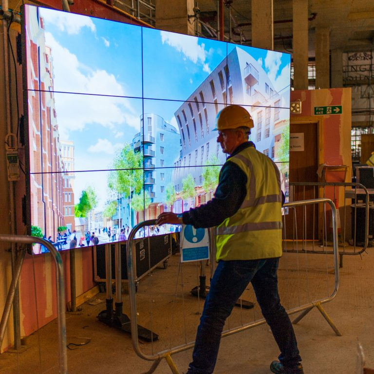 Video Wall for a construction site shopping mall
