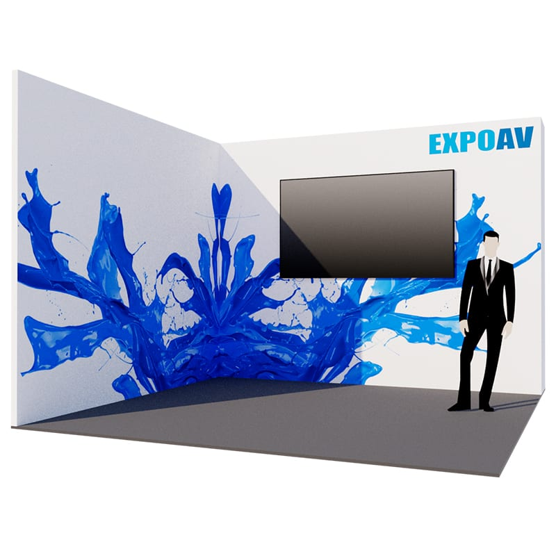 Angled Exhibition stand with video wall solution.