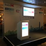 Stage with Seamless Backdrop with Large 55 Inch Centre Screen, Stage and Digital Lectern